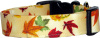 Vibrant Autumn Leaves on Cream Handmade Dog Collar