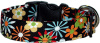 Funky Black Flowers Handmade Dog Collar