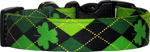 Argyle Shamrocks Handmade Dog Collar