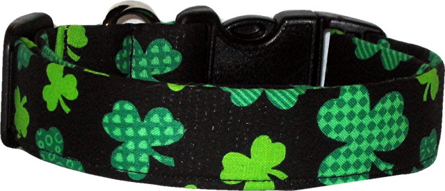 Black Patchwork Shamrocks Handmade Dog Collar