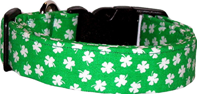 Bright Green & White Shamrocks Handmade Dog Collar