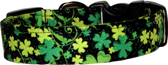 Multi Green Glitter Shamrocks Dog Collar