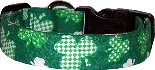 Green Patchwork Shamrocks Handmade Dog Collar