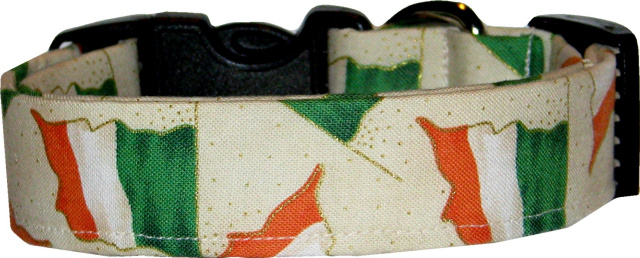 Irish Flags Cream Dog Collar
