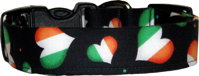 Irish Flag Hearts on Black Dog Collar