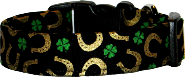 Lucky Horseshoes & Shamrocks Dog Collar