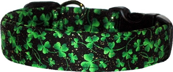 Mini Shamrocks on Black Custom Dog Collar
