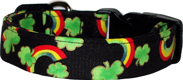 Shamrocks & Rainbows Handmade Dog Collar