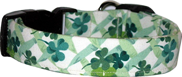 Shamrocks on Cream Handmade Dog Collar