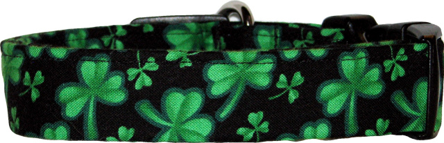 Vibrant Shamrocks Black Handmade Dog Collar