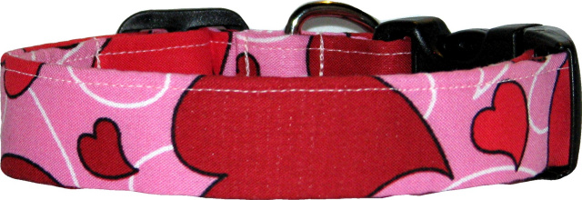 Big Red Hearts on Pink #2 Handmade Dog Collar