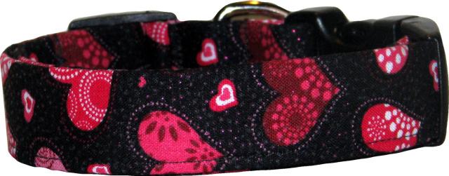 Red Decorated Hearts Black Handmade Dog Collar