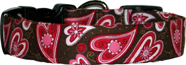 Brown & Red Hearts Handmade Dog Collar