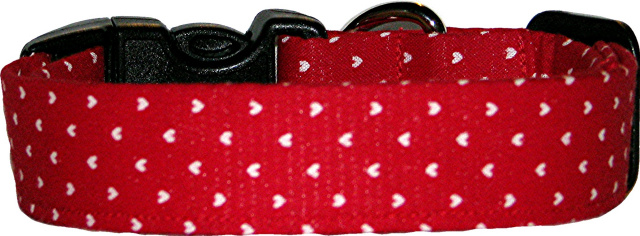 Mini White Hearts on Red Handmade Dog Collar