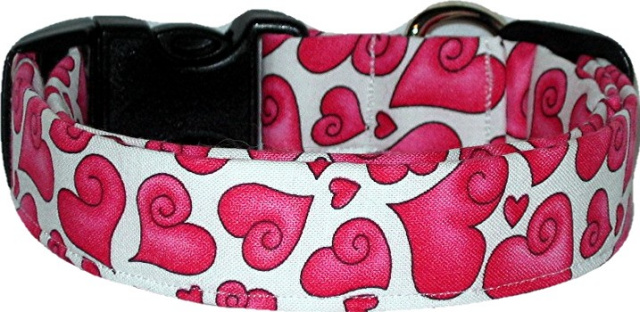 Puffy Pink Hearts on White Designer Dog Collar