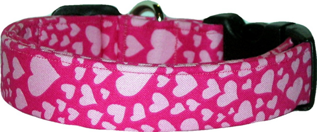 Pink on Pink Hearts Handmade Dog Collar