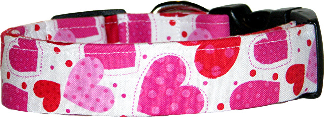 Pink Polka Dotted Hearts White Handmade Dog Collar