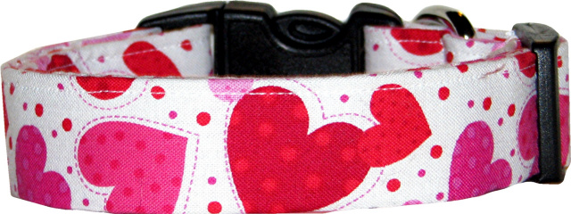 Red & Pink Dotted Hearts White Dog Collar