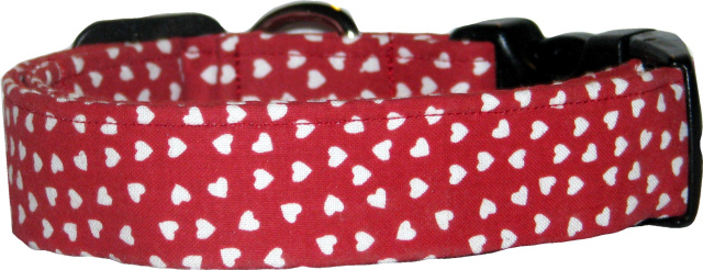 Ruby Red & White Hearts Handmade Dog Collar