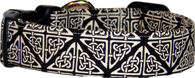 Black & Cream Celtic Knot Handmade Dog Collar