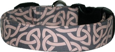 Pink & Gray Celtic Knot Handmade Dog Collar