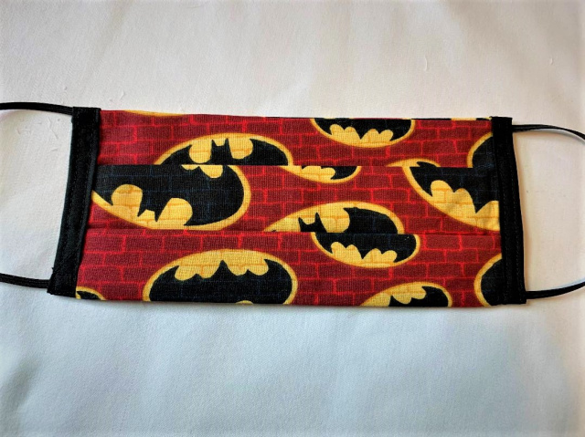 Red Brick Batman Adult Elastic Loop Face Mask 100% Cotton Rare Fabric