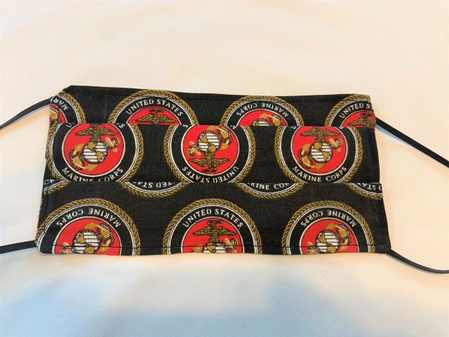 Black United States Marine Corps ELASTIC Face Mask 100% Cotton
