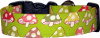 Lime Spotted Toadstools Handmade Dog Collar