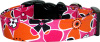 Funky Pink Orange Black Flowers Dog Collar
